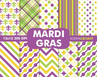 80% OFF SALE Mardi Gras Digital, Mardi Gras Papers, Mardi Gras Scrapbook, Digital Mardi Gras, Fleur De Lis Pattern, Carnival Papers