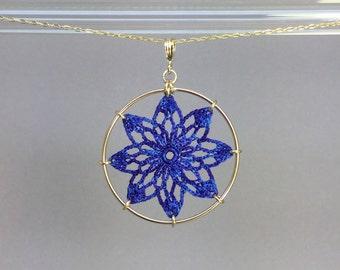 Tavita doily necklace, blue hand-dyed silk thread, 14K gold-filled
