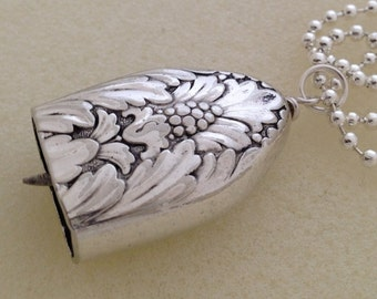 Art Deco Knife Bell Pendant MARQUISE Silverware Jewelry Vintage Silverplate Knife