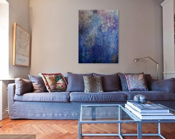"""Large Abstract Acrylic Painting Blue White Gray Pink Flowers H 40"""" W 30"""""""