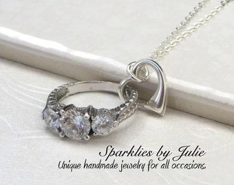 Floating Heart Pendant V1 - Sterling Silver Heart Necklace, Small Ring Holder, Love, Valentine's, Wedding Gift, Bridal