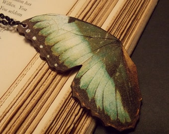 Green and Black Butterfly Wing Pendant Necklace