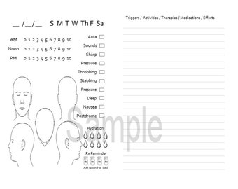 Migraine Journal for TN, Traveler's Notebook, Midori- A6 Digital Download