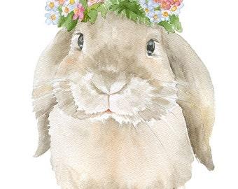 Bunny Rabbit Wreath Watercolor Painting 11x14 Giclee Print Woodland Animal Girls Room Fine Art Nursery Lop Rabbit