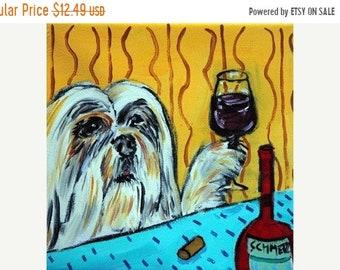 25% off llasa Apso, lhasa apso art , lhasa apso print on tile , ceramic coaster , wine art gift, modern dog art