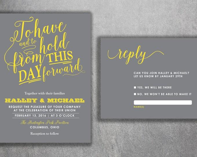 Affordable Wedding Invitations Set Printed - Cheap Wedding Invitations, Gray and Yellow Wedding Invitations, Unique, Announcements, Custom
