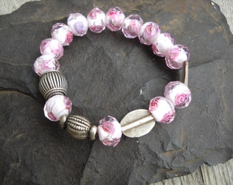 Pink Rose glass beads with Sterling silver accent bead bracelet