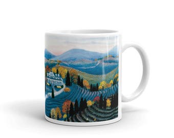 """Mug, """"Hudson River Valley"""" painting by Kathy Jakobsen, made in the USA"""
