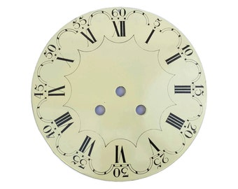 Old French Enamel Clock Dial. Cream and Black Antique Clock Face. Steampunk Decor.