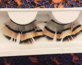 Cream & Brown feather eyelashes