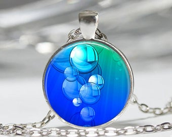 Bubbles pattern necklace abstract pendant cabochon glass chain silver
