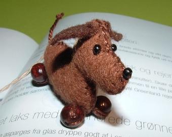 Lesezeichen Hund Hans Wurst Handarbeit - bookmark - dog - dachshund- sausage - felt