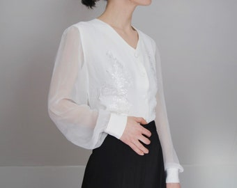 1990s sheer sleeve blouse with lace -- lace appliqué, vintage western shirt, puff sleeve, bohemian, boho, 1990s 90s clothing