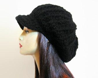 Black Crochet newsboy hat dreadlocks hat Black rasta hat crochet newsboy Cap Slouchy Newsboy Hat black knit Cap with Visor Adult Newsboy Cap