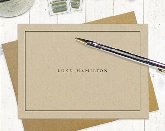personalized stationery set - PERFECTLY SIMPLE on KRAFT - set of 8 folded note cards - couples stationary - stationery for men