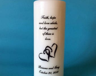 Personalized Unity Candle Set with your choice of verse, Double Heart image, includes pair of dripless taper candles. White or ivory.