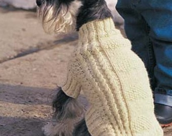 A Cable & Hearts Luxury Dog Coat Knitting Pattern in 5 sizes.