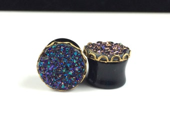 "Faux Druzy Drusy Blue Ear Gauges Plugs 9/16"" 14mm in Gold Lace Setting"