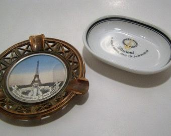 Souvenir Copper Paris France Eiffel Tower Souvenir Ashtray and White Porcelain Laurent Hotel Avenue Gabriel Ashtray. Jewelry Holder.