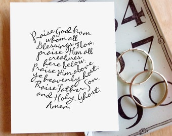 "Praise God From Whom All Blessings Flow (Doxology)  |  8x10"" Calligraphy Print, Hymn Text, Hymn Lyrics, Doxology Print, Hymn Art Print"