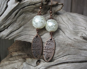 Lace and love letter earrings - copper and glass pearls