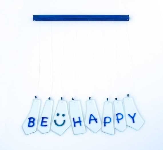 Wind chimes - Glass - Be Happy - Smile - Phrase - Housewarming - Decor - Wind bell - Handpainted - Wall hanging - Ready To Ship