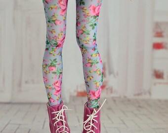 Blue floral tights for doll 1/4 slim msd minifee bjd CandyDollShop