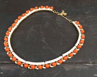 Crown Trifari faux coral and gold tone necklace