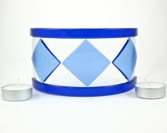 Blue Glass Candle Screen - Blue Fused Glass Candle Screen - Small