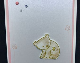 baby Shower card, New Baby card, little bear, baby bear card