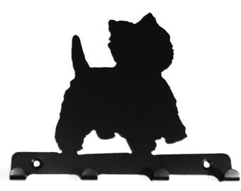 West Highland Terrier (Westie) Silhouette Key Hook Rack - metal wall art