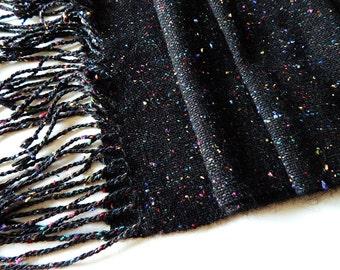 Handwoven wool scarf, black scarf, tweed scarf, handwoven wrap, women scarf, black scarf, fall scarf, wool scarf, woven wrap, black wrap