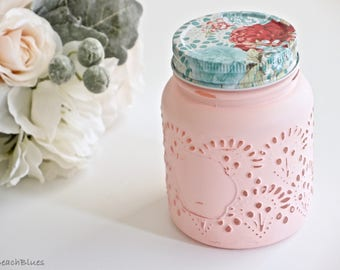 Gift for Her / Kitchen Canisters / 1 Pint Jar / Painted Mason Jars / Embossed Jar / Shabby chic home decor / utensil holders / kitchen decor