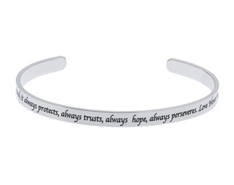 High Polished Stainless Steel Love is Patient, Love is Kind Bracelet Cuff, Corinthians Jewelry