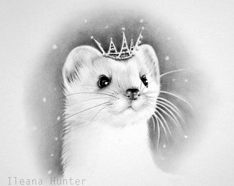Little Snow Queen Stoat Pencil Drawing Nursery Children's Illustration Print Hand Signed