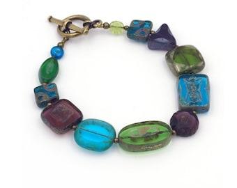 Jewel Tone Czech Glass Bead Bracelet