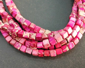 Hot Pink Sea Sediment cube Beads small 4x4x4mm -small Pink stone Cube beads -90pcs/strand