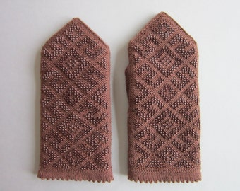 Hand Knit Wool Mittens Brown Wool Mittens Fingerless Mittens Knitted Mittens Hand Knit Mittens for Women  Winter  Mittens