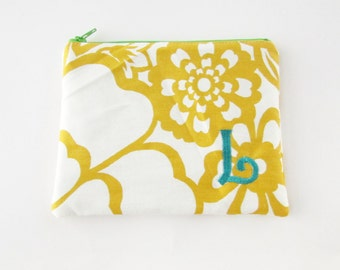 Personalized Zipper Pouch with initials - Monogrammed Makeup bag - Bridesmaid clutches- Small