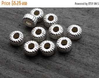SAVE 20% 10 Pieces Sterling Silver Corrugated Euro Flat Rondelle Beads 6.5x3x2mm Hole MADE In USA