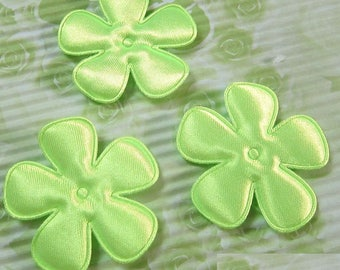 SET of 6 flowers 25mm Green neon applique embellishment 208