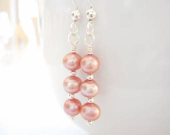Pink Pearl Earrings, Freshwater Pearl Earrings, Sterling Silver Jewelry, Dangle Earrings, Beaded Drop Earrings, Bridal Wedding Jewelry