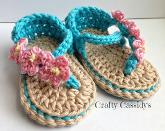 Crochet baby Girl Sandals, crochet newborn sandals, baby girls shoes, 0-6 months turquoise