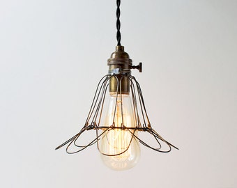 FREE SHIPPING! The Sing Sing - Industrial Cage Pendant Light