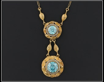 Antique Blue Zircon Necklace | Antique Victorian Necklace | 14k Blue Zircon Necklace | 1800s Gold Necklace | December Birthstone Necklace