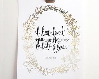 Jeremiah 31:3 Hand Lettered Art Print