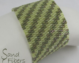 Stepped in Olive and Chartreuse Peyote Cuff / Peyote Bracelet (2628) - A Sand Fibers Made-to-Order Creation