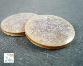 1 cabochon ceramic crackled grey white beige, diameter 25mm (cab23)