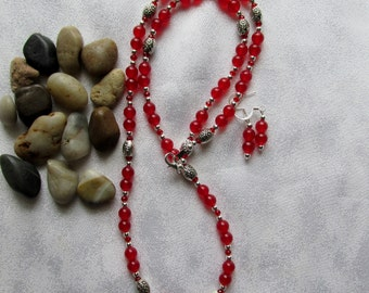 Red Jade Necklace and Ear Rings