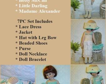 "103 Betsy McCall Edwardian Pattern,14"" Dolls,7Pc Dress,Jacket,Jewelry,Purse,Shoes Doll Pattern Set by CarussDesignZ"